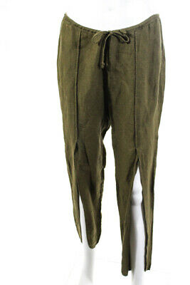 Chaser Womens Linen Drawstring Slit Pants Sage Green Size Small