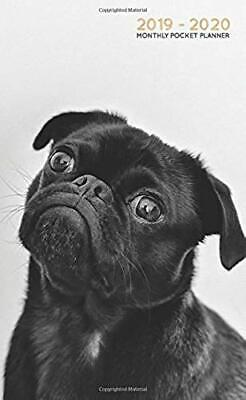 2019-2020 Monthly Pocket Planner: Cute Black Pug Puppy (Two Year Agenda)