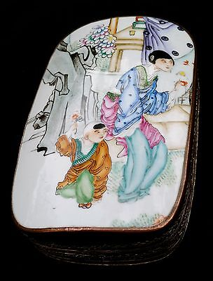 ANTIQUE CHINESE PORCELAIN BOX 19th C. QING SILVER / COPPER OPIUM JEWELRY BOX