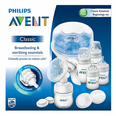 Philips Avent Classic Essential Beginnings Set Kit Breastfeeding & Sterilising