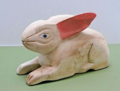"""Vintage Primitive Farmhouse Hand Carved Painted Bunny Rabbit white pink ~ 7x4x3"""""""