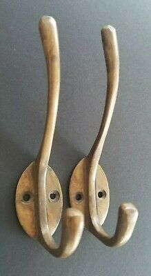 "2 Solid Antique Brass Double Coat Hooks w. Oval Backplate 4.5"" long #Z78"