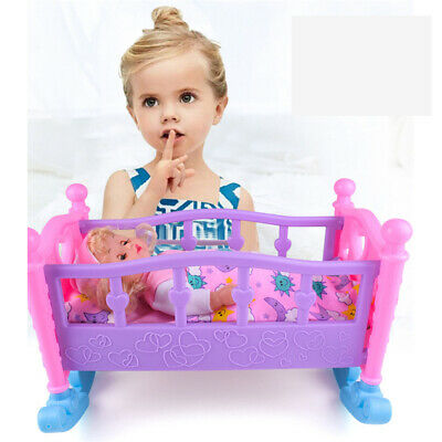 Mommy/Baby Kids Children Girls Pretend Role Play Toy Cradle Crib Doll Cot Bed UK