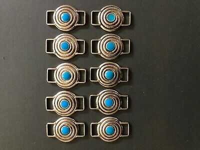 Craft Leather Leatherwork Western Conchos Silver and Turquoise Color X10