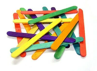 Coloured lolly Sticks wooden Crafts Model Making standard size 100-1000 Lollipop