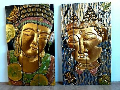 New Balinese Buddha Solid Wood Hand Carved Wall Art100 Cm Lucky Feng Shui