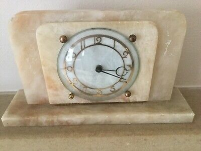English Art Deco Mantle Clock -Marble/ Onyx Mechanical Movement - Working