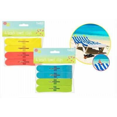 Beach Towel Clips Pack of 4 Multicoloured Plastic Large Pegs Duvet Heavy Washing