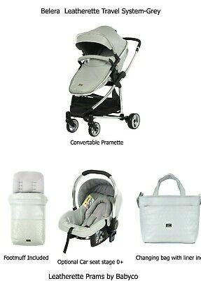 Belera Leatherette Travel System Pram Pushchair & Optional Car Seat- Grey