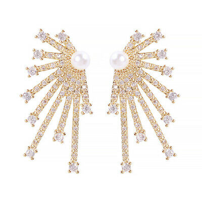 18K Gold Plated Beaded Pearl Beautiful Firework Earrings For Women Jewelry Gifts