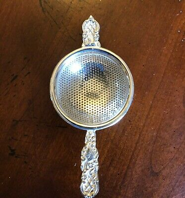 Tea Strainer, Silver Plated w/ Drip Bowl, Antique Reproduction, Victoria style