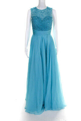 Angela and Alison 52057 Beaded Illusion Gown royal blue $589 autentic sz0 to16