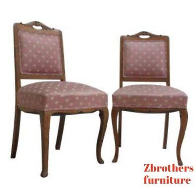 Pair Antique Tiger Oak North Wind Quarter Sawn Side Chairs