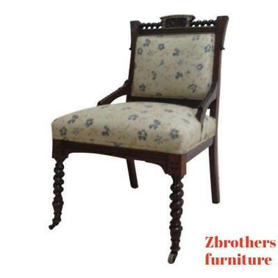 Antique Victorian Carved Walnut Fireside Lounge Living Room Chair  A