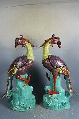 Beautiful chinese famille rose porcelain gilded a pair phoenix