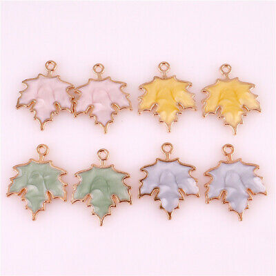 10pcs Enamel Charms Maple Leaf Charms Pendant For DIY Craft Jewelry Making 23003
