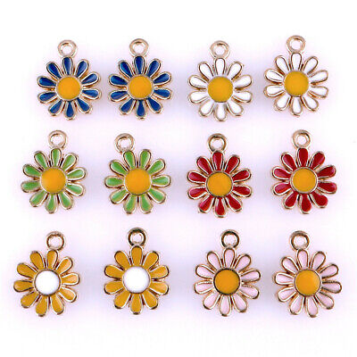 20PCS Enamel Charms Flower Charms Pendant For DIY Craft Jewelry Making 22996