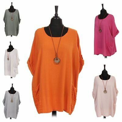 Womens Ladies Italian Lace Detail Cotton Necklase Tunic Top Uk Size