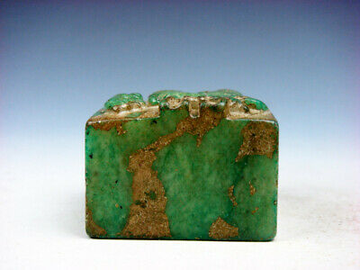 Old Nephrite Jade Stone Carved Seal Paperweight Flying Eagle #03062010