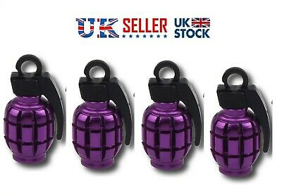 Hand Grenade Shaped PURPLE valve caps covers set of 4