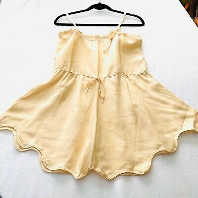 VTG. Edwardian Antique 1900s Ivory Silk Cami-Knickers Teddy Bloomers w Flaws