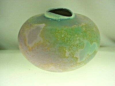 Beautiful Pottery Vase Foss Creek Pottery Canadian  Teal Green Purple Glaze