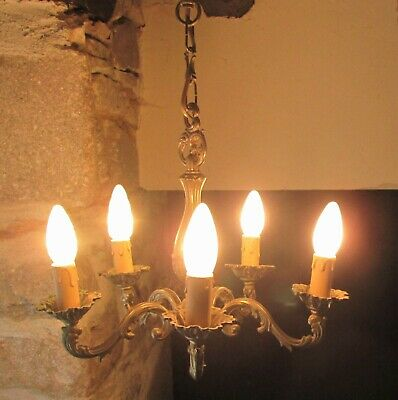 Antique French Heavy Bronze Brass 5 Arm Chandelier (Matching Sconces Available)