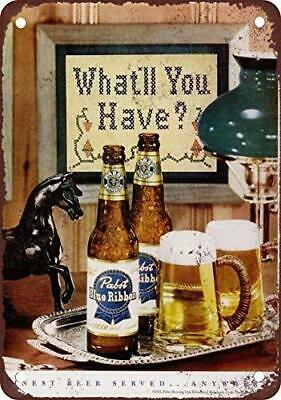 Pabst Blue Ribbon Beer Vintage Ad Reproduction Metal Sign E131