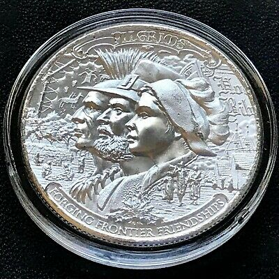 2020 FRONTIERS SERIES Pilgrims 1 oz Silver Mayflower Thanksgiving Indian Warrior