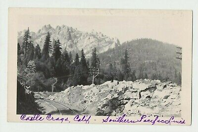 1940s RPPC Real Photo Postcard Castle Crags SP CA from Southern Pacific Rail