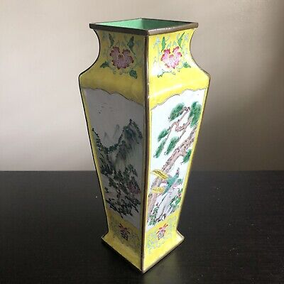 Fine Antique Chinese Qing Canton Enamel Vase Mountain Birds Art NICE NR