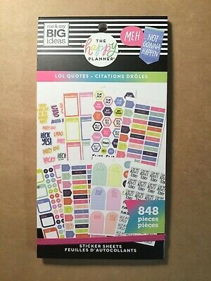 """NEW! me & my big ideas the happy Planner """"LOL QUOTES"""" Sticker Book 848 Pieces"""