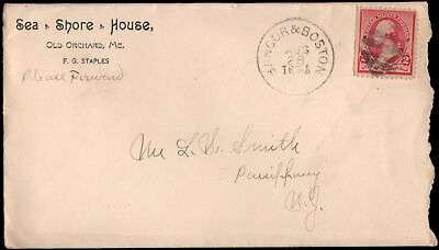 Old orchard ME to Parsippany NJ circa 1892. Corner card ad for Sea Shore House