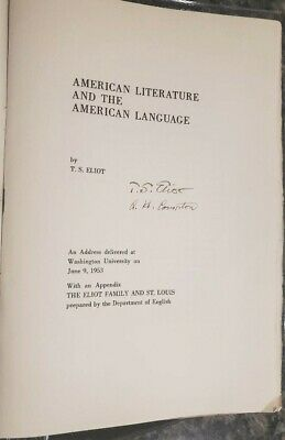 T.S. Eliot signed manuscript: co-signed by 2nd Nobel Prize winner A.H. Compton