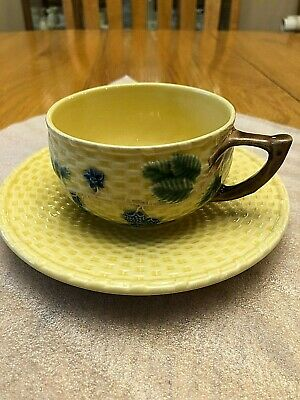 vintage Tiffany & Co majolica cup and saucer Blueberries pattern