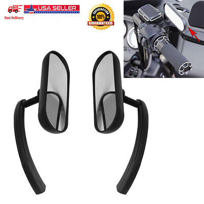 Motorcycle Black Mini Oval Mirrors For Harley Dyna Softail Sportster Touring VLX