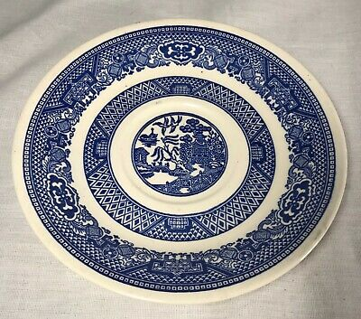 Single Vintage Antique Blue and White Willow Small Plate Saucer