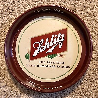 VINTAGE SCHLITZ THE BEER THAT MADE MILWAUKEE FAMOUS SERVING TIN Serving TRAY