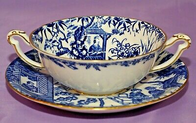 Royal Crown Derby BLUE MIKADO 2 Handled Cream Soup Bowl And & Saucer