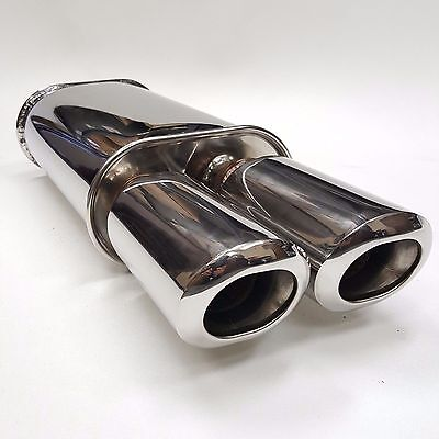 """Stainless Steel Chrome Dual DTM tip Outlet 3/"""" Universal Muffler Single Inlet 2.5"""