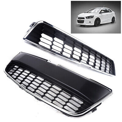 Pair Honeycomb Mesh Chrome Front Bumper Upper&Lower Grille for Chevy Sonic 12-16