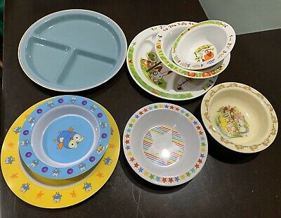 Various children's plates and bowls