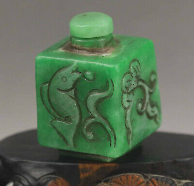 Chinese natural old jade hand-carved flower fish and bird snuff bottle