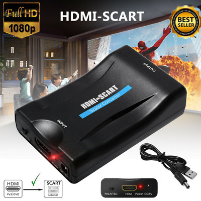 1080P HDMI To SCART Composite Video Converter Audio With USB Cable For DVD Sky