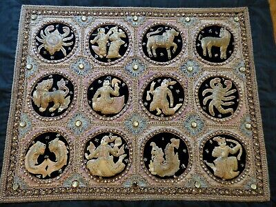 Large Burmese THAI KALAGA  Zodiac Tapestry Hand Embroidered w/glass & sequins