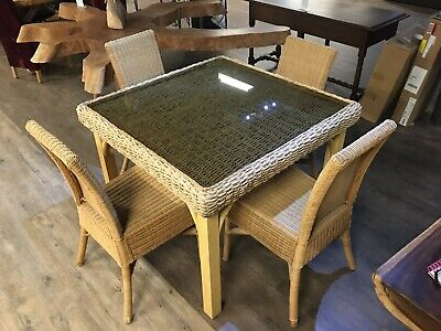 Unusual Seagrass Wicker Glass Topped Square Dining Table & 4 Matching Chairs Set