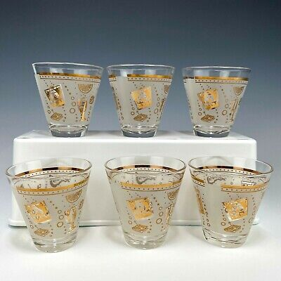Vintage Cocktail Glasses Mid Century Whiskey Lowball Shots Rocks Drink Bar Set