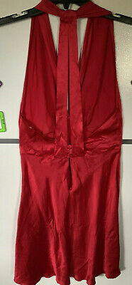Victoria Secret S BABYDOLL NightGown RED SEXY CHEMISE SHINY GOLD LABEL SILK SILK