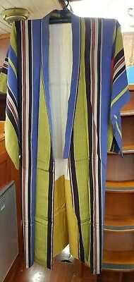 Fab Blue, Green, Black, Red, Grey Striped Vintage Japanese Full Length Kimono