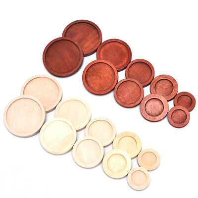 10Pcs Inner 12-30mm Antique Wood Wooden Cameo Cabochon Base Setting  Tray  BezJC
